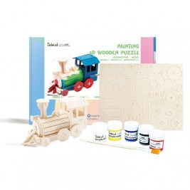 Wooden Locomotive DIY Puzzle with Paint Kit