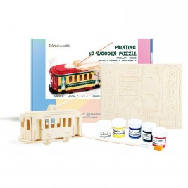 Wooden Trolley DIY Puzzle with Paint Kit