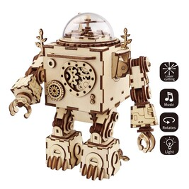 3D Wooden Wind Up Robot Orpheus